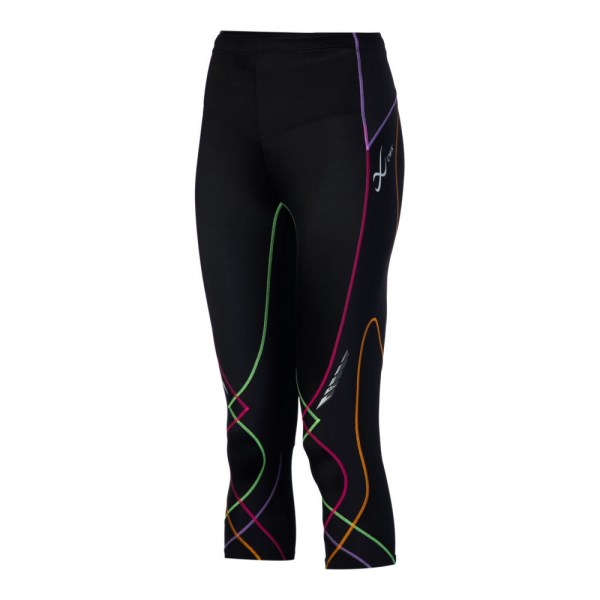 CW-X Stabilyx Womens Supportive Performance 3/4 Running Tights - Rainbow/Black