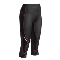 CW-X Stabilyx Womens Supportive Performance 3/4 Running Tights - Black/Raspberry